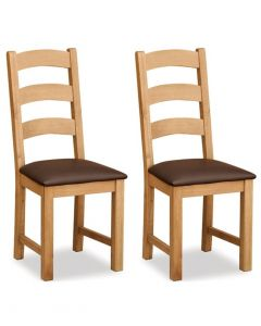 Salisbury Lite Ladder Back Dining Chair with Brown PU Seat - Pair