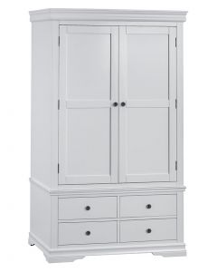 Carmelle Painted Grey Double Wardrobe with Drawers