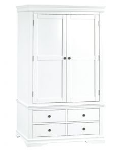 Carmelle Painted White Double Wardrobe with Drawers