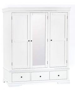 Carmelle Painted White Triple Wardrobe