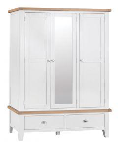 Geneva White Painted Triple Wardrobe