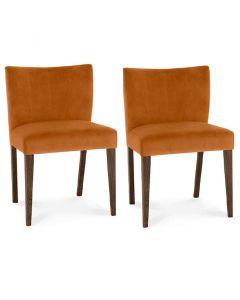 Turin Dark Oak Low Back Upholstered Dining Chair - Pair