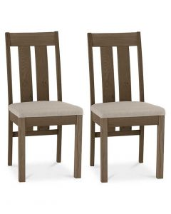 Turin Dark Oak Slatted Dining Chair with Fabric Seat Pad - Pair
