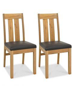 Turin Light Oak Brown Slatted Chair - Pair