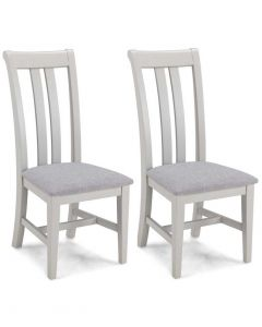 Warwick Painted Grey Upholstered Dining Chairs - Pair