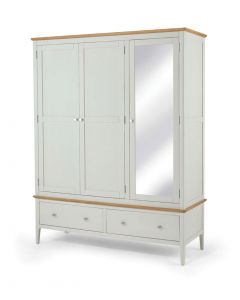 Maddie Painted Ivory Triple Wardrobe with Mirror